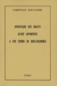cover Boltanski Christian_Inventaire des objects ayant appartenu a une femme de Bois-Colombes