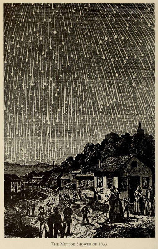 The Meteor Shower of 1833, Woodcut from F.A. Grondal's Music of the Spheres
